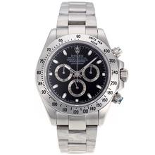 Replique Rolex Daytona II chronographe suisse Valjoux 7750 Mouvement marqueurs de bâton avec cadran noir S / S 24170