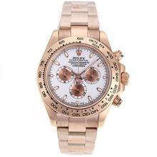 Replique Rolex Daytona II chronographe suisse Valjoux 7750 Mouvement Full Rose marqueurs de bâton d'or avec cadran blanc 24169