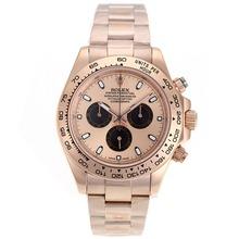 Replique Rolex Daytona II chronographe suisse Valjoux 7750 Mouvement Full Rose marqueurs de bâton d'or avec Rose d'or Cadran 24168