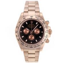 Replique Rolex Daytona II chronographe suisse Valjoux 7750 Mouvement Full Rose marqueurs de bâton d'or avec cadran noir 24167