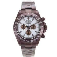 Replique Rolex Daytona II chronographe suisse Valjoux 7750 Mouvement complète des marqueurs de bâton café or avec cadran blanc 24166