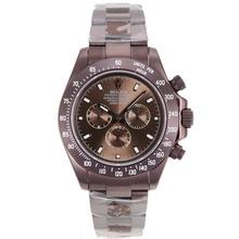 Replique Rolex Daytona II chronographe suisse Valjoux 7750 Mouvement complète des marqueurs de bâton café or avec cadran brun 24165