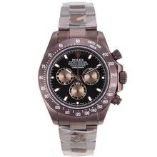 Replique Rolex Daytona II chronographe suisse Valjoux 7750 Mouvement complète des marqueurs de bâton café or avec cadran noir 24164