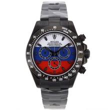 Replique Rolex Daytona II chronographe suisse Valjoux 7750 Mouvement complet marqueurs de bâton avec PVD Blanc / Bleu / Rouge Dial 24163