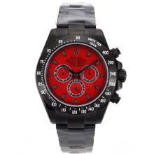 Replique Rolex Daytona II chronographe suisse Valjoux 7750 Mouvement complet marqueurs de bâton PVD avec cadran rouge 24162