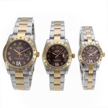 Replique Rolex Datejust automatique Deux marqueurs Tone Diamond Bezel avec cadran brun romaine-verre de saphir - Belle Montre Rolex DateJust pour vous 20339