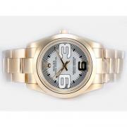Replique Rolex Air-King Oyster Perpetual pleine d'or automatique avec la version d'accès à distance de nouvelles blanc 14901