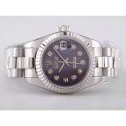 Replique Rolex Datejust Swiss ETA 2836 or or cas ligne complète avec le marquage des diamants - de taille moyenne 9517