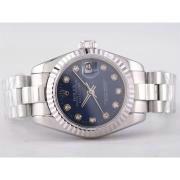 Replique Rolex Datejust Swiss ETA 2836 or cadran gris complet avec le marquage des diamants de taille moyenne 9518