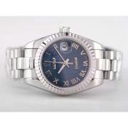 Replique Rolex Datejust eta suisse 2836 plein mouvement or rose avec cadran taille-mi d'argent 9722