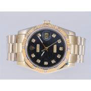 Replique Rolex Datejust eta suisse 2836 Mouvement lunette noire rubis avec cadran noir-marquage des diamants 11186