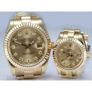 Replique Rolex Datejust automatique d'or plein de diamants composer couple regarder de marquage-or 15733