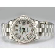 Replique Rolex Datejust lunette sertie de diamants et de marquage automatique avec une vadrouille ligne 15737