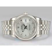 Replique Rolex Datejust cadran argenté automatique avec le marquage des diamants 15783
