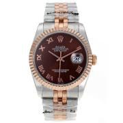 Replique Rolex Datejust Swiss ETA 2671 mouvement lunette romaine index diamants avec cadran noir s s-dame taille / 7555