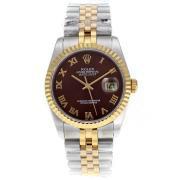 Replique Rolex Datejust Swiss ETA 2671 marqueurs romaine mouvement avec cadran brun s s-dame taille / 7553