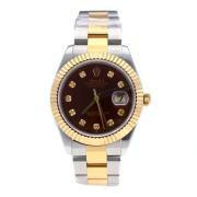 Replique Rolex Datejust II eta suisse 2836 mouvement de deux index diamants ton avec cadran brun 18834