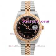 Replique Rolex Datejust II eta suisse 2836 Mouvement deux marqueurs romain ton avec cadran noir 2039
