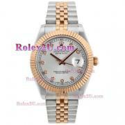 Replique Rolex Datejust II eta suisse 2836 mouvement de deux index diamants ton avec cadran argenté 2043