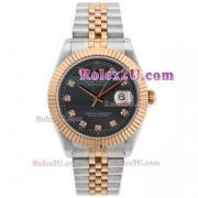 Replique Rolex Datejust II Swiss ETA 2836 Mouvement deux marqueurs diamants ton avec une vadrouille cadran noir 2047