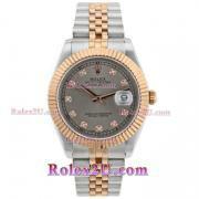Replique Rolex Datejust II eta suisse 2836 mouvement de deux index diamants ton avec cadran gris 2048