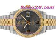Replique Rolex Datejust II automatique à deux tons à motif floral cadran gris 2387