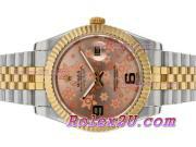 Replique Rolex Datejust II automatique à deux tons à motif floral rose ligne 2388