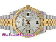 Replique Rolex Datejust II automatique à deux tons avec cadran filigrane d'argent 2396