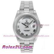 Replique Rolex Day-Date II Swiss ETA 2836 marqueurs en bâton mouvement avec le cadran blanc s / s 18411