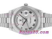 Replique Rolex Day-Date II eta suisse 2836 a augmenté de mouvement complet marqueurs en bâton d'or avec cadran bleu 18580