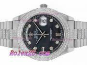 Replique Rolex Day-Date II eta suisse 2836 Mouvement deux marqueurs romain ton avec cadran bleu 1771