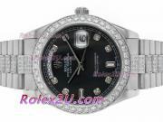 Replique Rolex Day-Date II automatique de deux marqueurs numéro de sonorité avec cadran noir 1426