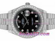 Replique Rolex Day-Date II eta suisse 2836 Mouvement deux marqueurs romain ton avec cadran noir 1544