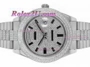 Replique Rolex Day-Date II eta suisse 2836 a augmenté de mouvement complet marqueurs romains en or avec cadran noir 1545