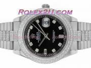 Replique Rolex Day-Date II eta suisse 2836 Mouvement d'or plein de diamants cz lunette avec cadran gris 1862