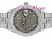 Replique Rolex Day-Date II eta suisse 2836 Mouvement d'or plein de diamants cz lunette avec cadran argenté 1863
