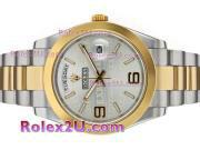 Replique Rolex Day-Date II eta suisse 2836 Mouvement d'or plein de diamants cz lunette avec cadran blanc 1864