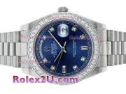 Replique Rolex Day-Date II Swiss ETA 2836 index diamants mouvement et de la lunette avec cadran bleu 1887