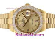 Replique Rolex Day-Date II eta suisse 2836 Mouvement diamant cz lunette avec cadran argenté 1879