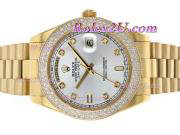 Replique Rolex Day-Date II eta suisse 2836 Mouvement diamant cz lunette avec cadran gris 1891