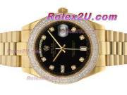 Replique Rolex Day-Date II eta suisse 2836 Mouvement diamant cz lunette avec cadran bleu 1892