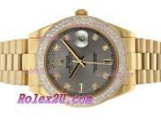 Replique Rolex Day-Date II eta suisse 2836 Mouvement diamant cz lunette avec cadran bleu 1894