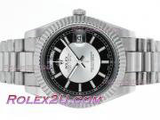 Replique Rolex Day-Date II eta suisse 2836 mouvement de deux diamants lunette cz ton avec cadran noir 2359