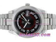 Replique Rolex Day-Date II eta suisse 2836 Mouvement d'or plein de diamants cz lunette avec cadran noir 2353