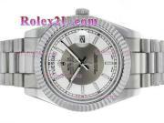 Replique Rolex Day-Date II eta suisse 2836 Mouvement d'or plein de diamants cz lunette avec cadran argenté 2355