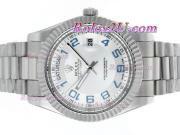 Replique Rolex Day-Date II eta suisse 2836 Mouvement d'or plein de diamants cz lunette avec cadran gris 2356