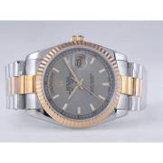 Replique Rolex Day-Date eta suisse 2836 diamants mouvement de marquage et de la lunette avec cadran argenté 9866