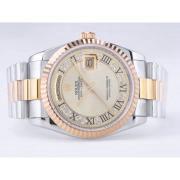 Replique Rolex Day-Date eta suisse 2836 diamants mouvement de marquage et de la lunette avec cadran blanc 9858
