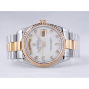 Replique Rolex Day-Date eta suisse 2836 diamants mouvement de marquage et de la lunette avec cadran blanc 9859