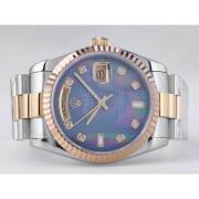 Replique Rolex Day-Date eta suisse 2836 diamants mouvement de marquage et de la lunette avec cadran bleu 9861